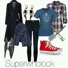 I have found this and I think it is a marvelous combination of clothes to represent three fandoms. -SH Sherlock Inspired Outfits, Character Inspired Outfits, Supernatural Inspired Outfits, Nerd Fashion, Fandom Fashion, Marvel Fashion, Fashion Ideas, Fashion Trends, Soft Grunge