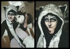 Maria Macabre - Halloween Makeup, Wolf Makeup, Siberian Husky costume, Wolf Hat, White Out Contacts Halloween Eye Makeup, Halloween Contacts, Halloween Eyes, Couple Halloween Costumes, Halloween Horror, Halloween Cosplay, Teen Costumes, Woman Costumes, Pirate Costumes