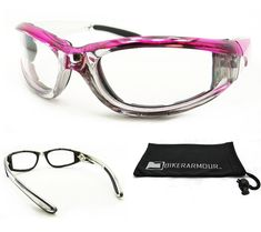 e48260f397d Chrome and Pink Motorcycle Clear Glasses Foam Padded for Women. Price    11.99 Pink Motorcycle