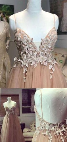 69d24229fab2 Charming Spaghetti Straps Backless Long A-Line Tulle Prom Dresses With  Appliques