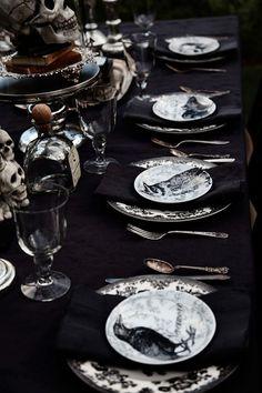 All black tablescape
