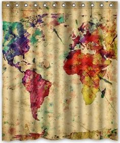 Fabric Shower Curtains World Maps Showers Tile