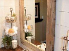 Bathroom Vanity-Single Vanity-or-Double Vanity Custom Replica Room Design, Decor, Decor Interior Design, Trendy Bathroom, Bathroom Design, Primitive Bathrooms, Tuscan Decorating, Farmhouse Mirrors, Fancy Kitchens