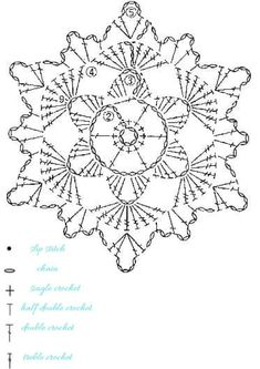 15 crochet snowflakes patterns- free patterns - Turquoise with vanilla Free Crochet Snowflake Patterns, Crochet Stars, Crochet Motifs, Christmas Crochet Patterns, Crochet Snowflakes, Crochet Mandala, Crochet Diagram, Doily Patterns, Crochet Stitches