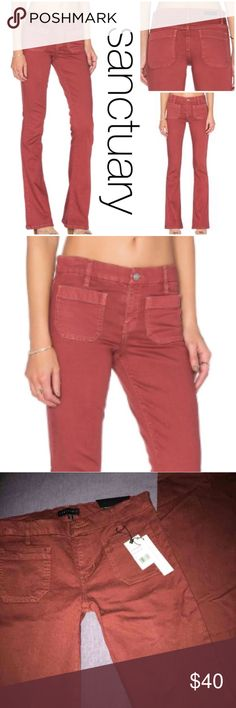"""NWT Sanctuary Marianne Flare Jean/Pants in Marsala Sanctuary Marianne Flare Jeans in Washed Marsala. Zip fly with button closure, two front patch pockets, high-rise.  Two back patch pockets, belt loops, silver-tone hardware.  High-rise, flared silhouette, designer patch at back right. 9"""" rise, 34-35"""" inseam, 18"""" leg opening. Fabric Content: Modal/lyocell/cotton/LYCRA®.  New with tag... $129.00 Sanctuary Jeans Flare & Wide Leg"""