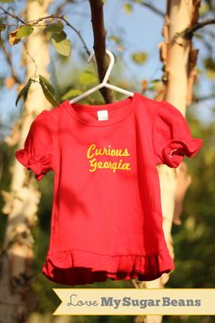 Curious Olivia! :-)   Girls Ruffle Red Curious George Personalized Kids by MySugarBeans, $24.00