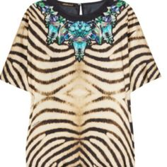 HOLIDAY SALE  Roberto Cavalli Silk Tunic ⚡️REDUCED THRU SUNDAY⚡️Roberto Cavalli Zebra-Printed 'Cristallo di Rocca' silk tunic. Sold at Shopbop and Neiman Marcus. Italian Size: 44 Roberto Cavalli Tops Tunics