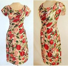 Vintage 50's Red Rose Print Silk Ruched Draped Designer Bombshell Wiggle Dress | eBay