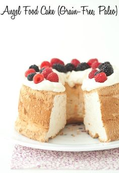 Angel Food Cake made with no grains and a delicious paleo option! (gluten free, grain free, paleo, low FODMAP, nut free, soy free, refined sugar free)