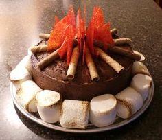 Cub Scout Campfire Cake cakepins.com