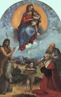 """RAFAEL SANZIO - """"Madona do Foligno"""" 1511-2, óleo sobre tela, 301x198 cm, Pinacoteca, Vaticano.    Veja mais: http://www.auladearte.com.br/historia_da_arte/rafael.htm#ixzz30IU6muX3 Under Creative Commons License: Attribution Share Alike"""