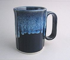 16 oz handmade pottery coffee mug - navy glaze