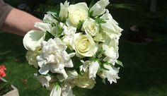 bridal bouquet of white stephanotis and gardenia