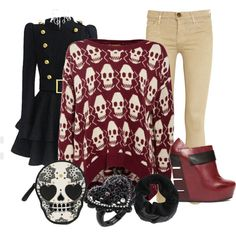 """my nightmares"" by vanessashark on Polyvore #skulls #punk"