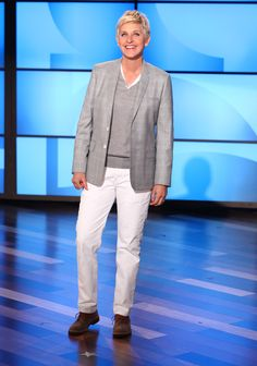 Ellen's Look of the Day: One of Ellen's favorite blazers, a Gray Margiela sweater and white Levi's jeans, Sartore saddle shoes.