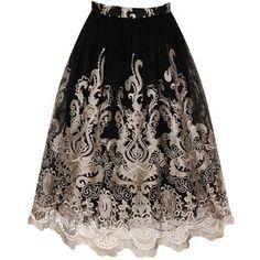 **Chi Chi London Metallic Embroidered Midi Skirt