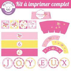 printable thème Papillon, topper, wrapper pour cupcakes... pour anniversaire, fête, baptème