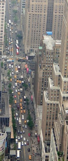 Looking west on 34th Street toward 8th Avenue (New Yorker Hotel) from the top of the Empire State Building
