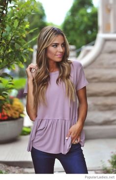 Navy pants and light purple top