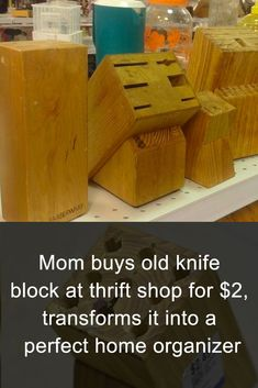 She bought an old knife block for just $2 and created a great tool to organize her home!    #diy #organize #knife