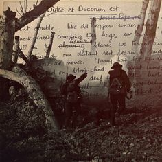 """""""...Men marched asleep. Many had lost their boots, But limped on, blood -shod. All went lame; all blind; Drunk with fatigue; deaf even to the hoots, Of gas-shells softly behind."""" - Dulce et Decorum Est, Wilfred Owen."""
