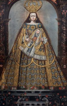 Lady Madonna, Madonna And Child, Religious Paintings, Religious Art, Colonial Art, Pintura Colonial, Virgin Mary Painting, Peruvian Art, Latino Art
