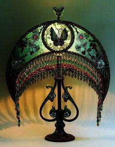 Art Nouveau and Art Deco Lampshades take the prize for intricate design.not as fussy as the Victorian lampshades, and more organic in shape. No mistake about the moon-shape.a moonlit room is romantic and relaxing. Victorian Lamps, Antique Lamps, Antique Lighting, Antique Furniture, Furniture Dolly, Art Nouveau, Chandelier Lamp, Chandeliers, Luxury Chandelier