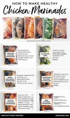 Six healthy chicken marinade recipes for easy dinners. These marinades are delic. - Six healthy chicken marinade recipes for easy dinners. These marinades are delicious and healthy an - Fajita Chicken Marinade, Chicken Seasoning, Grilled Chicken Marinade Easy, Marinade For Steak, Cajun Seasoning Recipe, Salmon Marinade, Grilled Chicken Thighs, Fajita Seasoning, Cilantro Lime Chicken