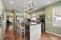 Terracotta Kitchen Floor Tile Color Sage Green Wall Color And White Island For Country Kitchen Decor Warm Kitchen Colors, Light Green Kitchen, Green Kitchen Walls, Sage Green Walls, Kitchen Wall Colors, White Kitchen Cabinets, Kitchen Paint, Kitchen White, Dark Cabinets