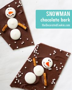 snowman chocolate bark for Christmas