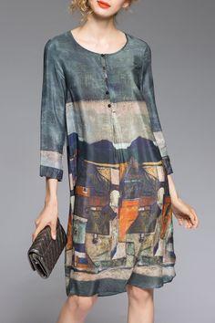 Daianxi Smoky Gray Knee Length Shift Dress | Knee Length Dresses at DEZZAL