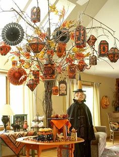 Halloween Living Room Trees and Witch Interior Design Ideas - Living Room