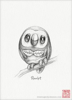 Rowlet 5 x 7 print pokemon drawing art artwork by RockyHammerEtsy