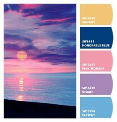 Instantly turn any picture into a palette with ColorSnap, created for you by Sherwin-Williams. Sunset Color Palette, Sunrise Colors, Pastel Colour Palette, Pastel Colors, Pink Sunset, Pastel Blue, Color Schemes Colour Palettes, Colour Pallete, Color Combos
