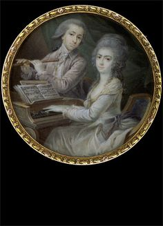 Young Couple, Making Music,  circa 1780      The portrayed noble couple are thought to be Marc Antoine de Bardon, Duke of Ségonzac (1746 - 1789), colonel lieutenant of the cavalry of Piemont, and his wife. The lady is sitting at the cembalo in front of a music book, having opened a page showing an Italian aria.