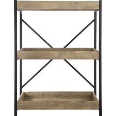Display treasured souvenirs and leather-bound tomes in rustic style with this essential etagere, featuring 3 fir wood shelves and a black-finished metal fram...
