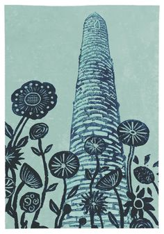 'Back in the Tall Grass' Original handmade print of Ardmore round tower in Co. Waterford