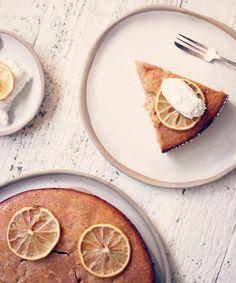 lemon cake bowl and yoghurt and slice