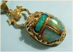 Opal, Gold and Diamond Scarab Pendant