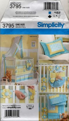 3795 NURSERY accessories BABY QUILT Sheets Bumpers Canopy uncut Sewing pattern  #Simplicity