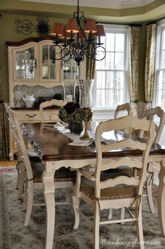 The Endearing Home — Restyle, Repurpose, Reorganize ~ I like the black decorative piece hanging above hutch ~