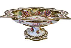 Magnificent Limoges large centerpiece pedestal bowl with intricate details throughout. Fully hallmarked underneath. $995
