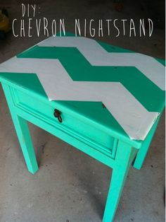DIY Chevron Table (but my lines would be more crisp)