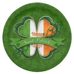 St. Patrick's Day - Happy St. Patrick's Day Paper Plate...St. Patrick's Day - Happy St. Patrick's Day - Shamrock with Irish Flag layered over larger Shamrock set on a clover pattern . ****AVAILABLE IN BOTH SIZES. Coordinating items in our store!