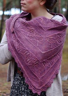Knitting Pattern for Canopy Shawl - A triangular shawl with an interesting texture of lace and twisted stitches alternating with stockinette. Sport weight yarn. Designed byMelody Hoffmann