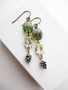 #etsy shop: winter earrings pine cone wintergreen jewelry by owlsnroses #earrings #jewelry