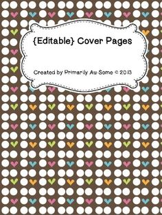 Freebie for hitting 100 TPT Followers and 100 Facebook Followers!  Thanks so much for your continued support!   Help keep yourself organized with these editable covers.  A special Thanks to the graphic artists:   My Cute Graphics @ www.mycutegraphics.com & ClipArt Corner @ http://www.teacherspayteachers.com/Store/Clipart-corner