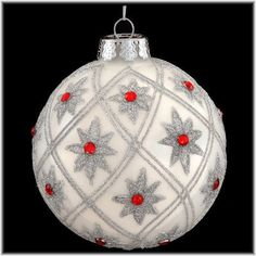 Glass Christmas Ornament With Snowflake And Jewels