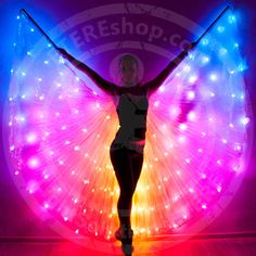 Smart LED Bellydance Rainbow wings – LED light up rainbow isis wings – SMART 164 Festival Trends, Festival Mode, Festival Outfits, Festival Fashion, Up Costumes, Dance Costumes, Light Up Clothes, Glow Party, Rave Outfits