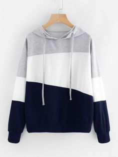 SweatyRocks Women's Color Block Lightweight Long Sleeve Pullover Hoodie, Grey White Burgundy, L Cool Outfits, Casual Outfits, Fashion Outfits, Fast Fashion, Fashion Women, Women's Fashion, Luxury Fashion, Fashion Black, Vintage Fashion